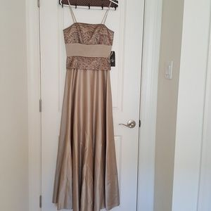 JS Collections tan taupe shiny lace light gold4NWT